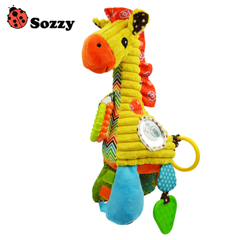 Sozzy 27cm Children Rattle Toys Cute Cartoon Giraffe Doll Eight Tone Piano Baby Musical Ring Bell Infant Plush Toy Gifts BM88