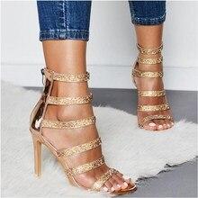 ce8b5899d 2019 Nova Alta Quqlity Strass grão Mulheres Sandálias de Dedo Aberto  Stiletto Sapatos de Festa de Salto Alto Senhoras zipper .