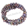 Free Shipping Pretty Gift 5-7mm Natural Black Color Freshwater Pearl Bracelet bangles for women Fashion Fold Bracelets Jewelry