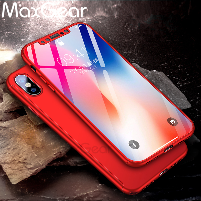 360 Degree Protection Case For iphone X Cover Luxury Case Plastic Hard Shockproof Back Cover For iphoneX Phone Shell+Free Glass  iphone x cases 360 protection  font b 360 b font Degree font b Protection b font font b Case b