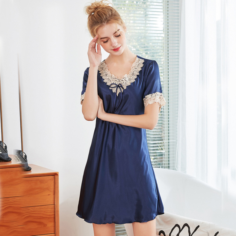 SSH0338 Women   Nightgown     Sleepshirt   Lady Sexy V-Neck Mini Night Dress Short Sleeve Lace Nightdress Satin Silk Nightwear Sleepwear
