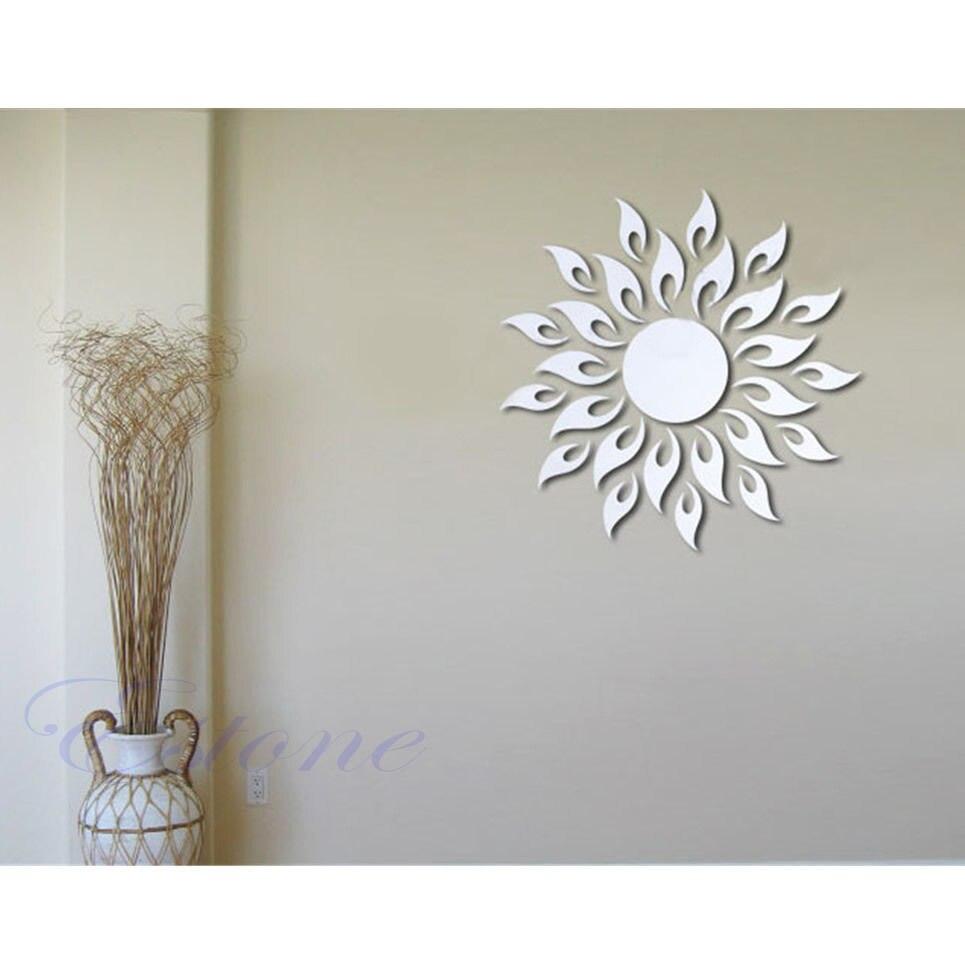 Soleil feu rond fleur acrylique 3d acrylique miroir for Miroir rond autocollant