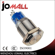 GQ16F-11 16mm Momentary LED light metal push button switch with flat round