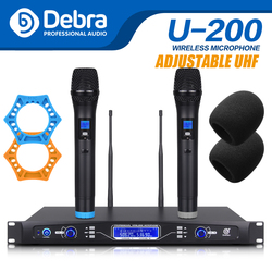 Debra audio Pro 80*2 selectable channel UHF Wireless Microphones System with Dual Mics for Professional singer Stage Karaoke