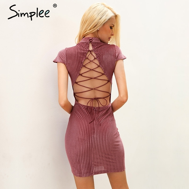 Simplee Corduroy backless lace up bodycon dress women Sexy mandarin collarmini dress women Antumn elegant party dress robe femme