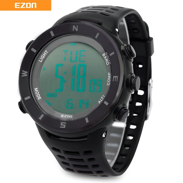 H011 EZON Caminhadas Profissional Série Homens Relógio Altímetro Barômetro Bússola Digital Alarme 50 Anos de Calendário Relógio de Pulso