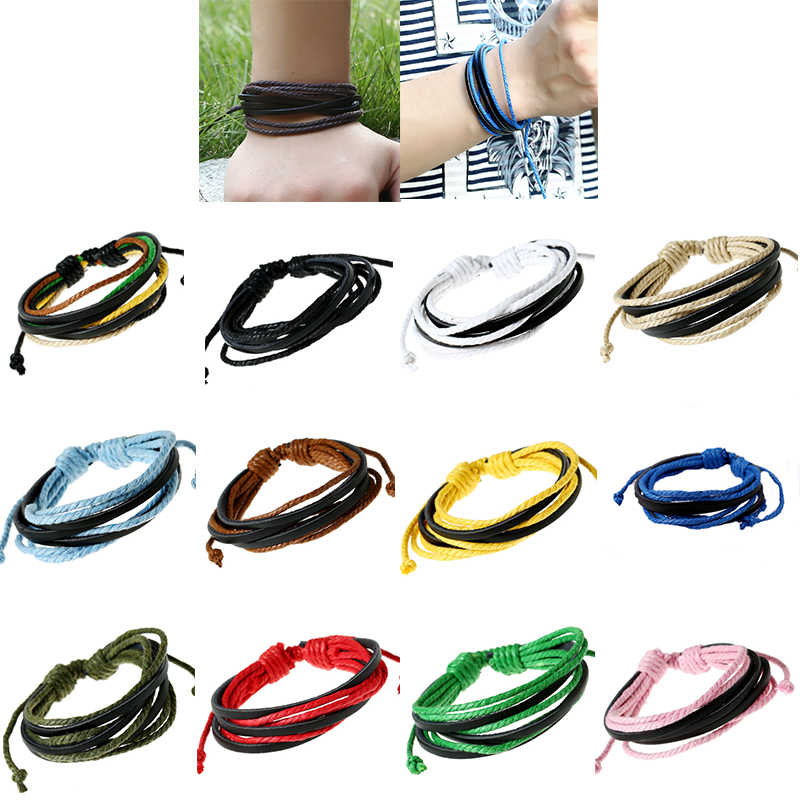 1Pc Colourful Monochrome Woven Leather Bracelet Pure Hand-painted Leather Rope Bracelets Women &Men Bracelet with Braided Rope