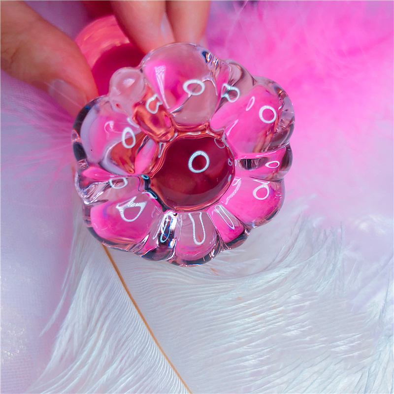 Flower Crystal Glass Anal Plug Masturbation Sex Toys For Men Women Butt Plug Adult Products Pink Prostate Massager Anal Sex Toys