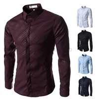 2016 men spring and autumn new recommendation dark twill men's high-end leisure male silm shirt
