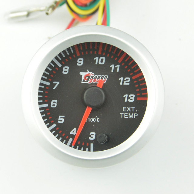 Universal New 52mm Silver frame  Colorful backlight Auto Exhaust Gas tempe gauge Car modification EXT temperature  meter