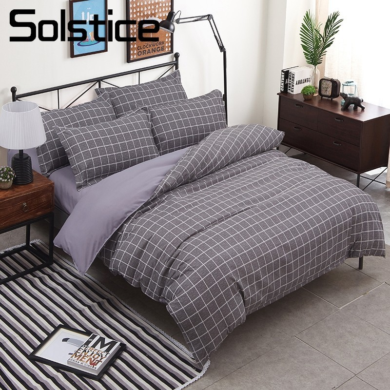 Solstice Home Textile 4Pcs King Twin Full Bedding Set Boy Girl Kid Teen Bed Linen Brief Plaid Duvet Quilt Cover Pillowcase Sheet
