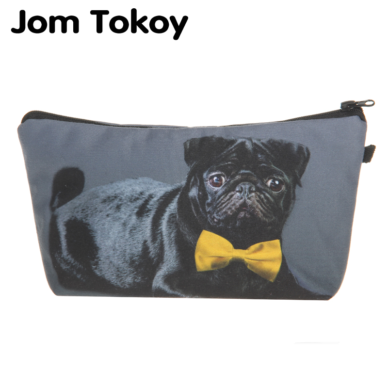 3D Printing Black Pug With Bow Tie makeup bag Jom Tokoy cosmetic organizer bag 2018 Fashion Women Brand Cosmetic Bag