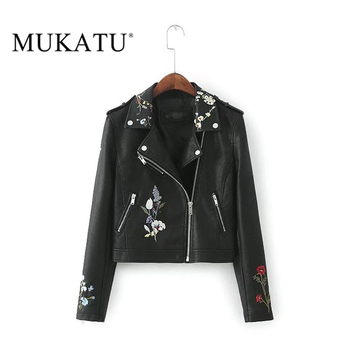 MUKATU 2017 New Autumn Winter Women Faux Leather Jackets Lady Slim Fit Motorcycle Zipper Black Embroidery Coat Hot Sale Косуха