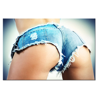 Fashion Canvas Wall Art Sexy Woman body in Jean Shorts Great Ass On Blue Background Nude Poster Female Body Art Print On Canvas