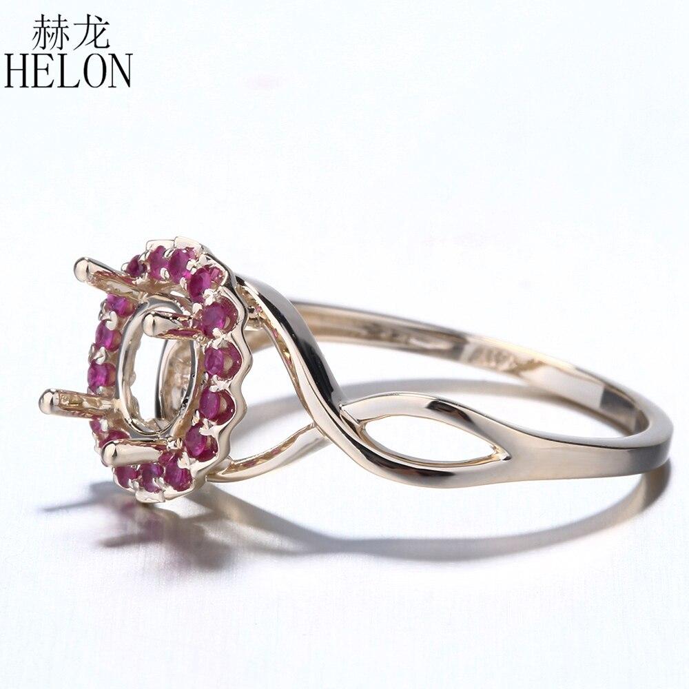 HELON Solid 14 K żółte złoto prawdziwej rubiny Semi Mount pierścionek zaręczynowy ślub pierścień 6.5mm do 7mm okrągły ustawienie dla kobiet w porządku biżuteria w Pierścionki od Biżuteria i akcesoria na  Grupa 2