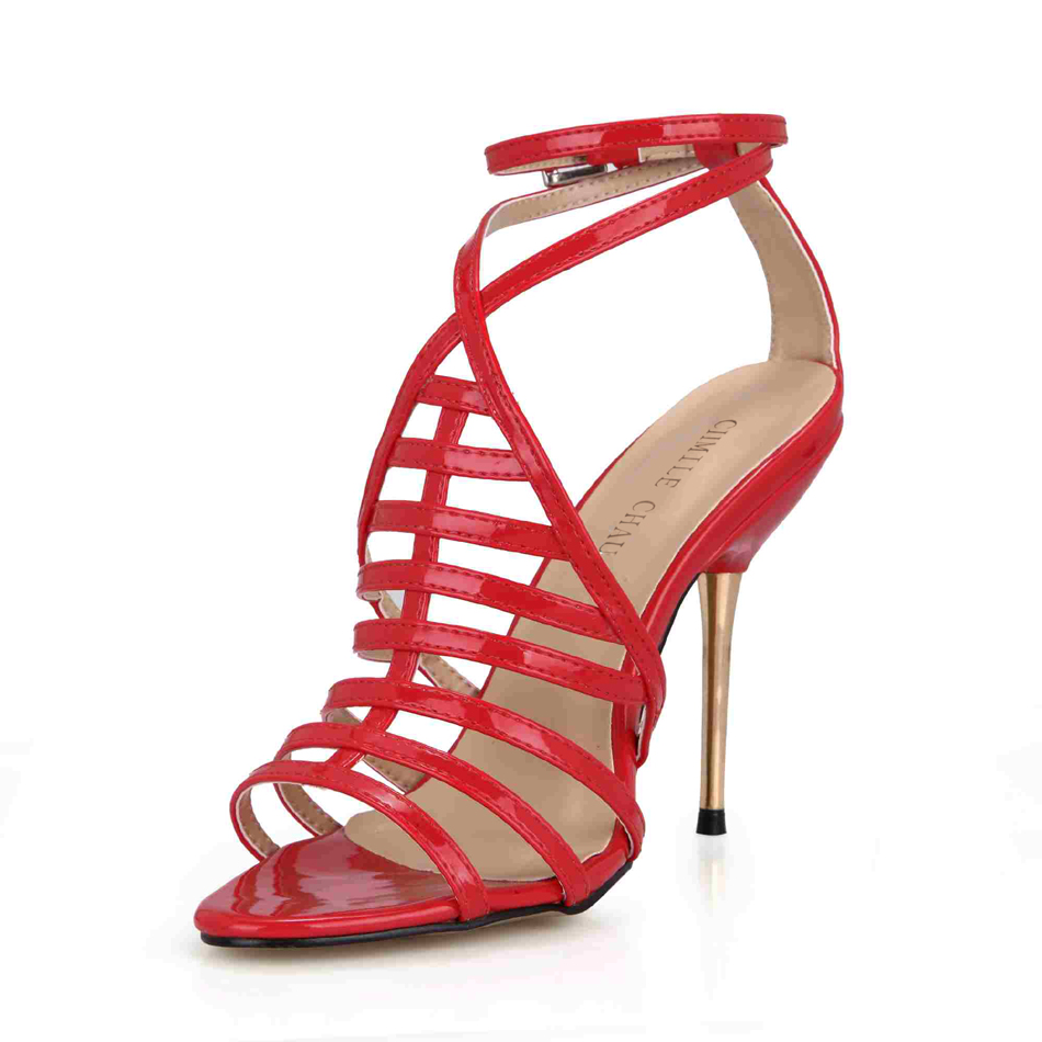 CHMILE CHAU Sexy Party Shoes Women Open Toe Stiletto High Heels Gladiator Rome Elegant Ladies Sandals Zapatos Mujer 3845C 4b in High Heels from Shoes