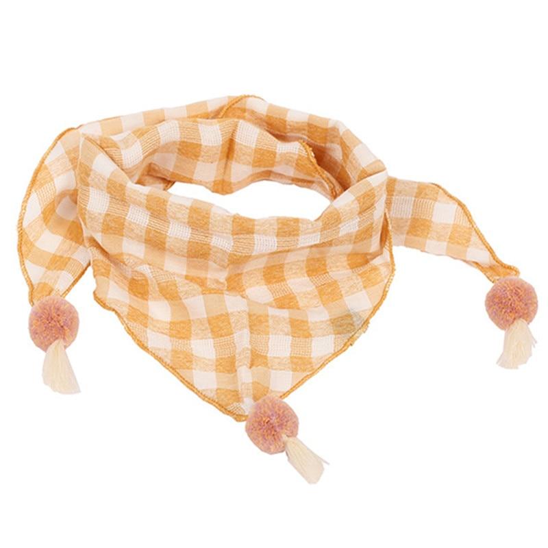 Весенние клетчатые треугольные шарфы в горошек для маленьких девочек; осенне-зимняя шаль для мальчиков и девочек; Детские хлопковые воротники; теплый детский шейный платок - Цвет: yellow grid