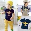 2016 Niños Camiseta de Algodón de Manga Corta Camisetas Para Niños plane Imprimir Niños Camiseta de La Manera Embroma la Camiseta Tops Niños Ropa