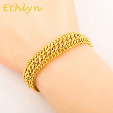 Ethlyn copper Gold color Bracelet Men Jewelry  Gold color  Rock and hiphop  style jewelry wholesale B004