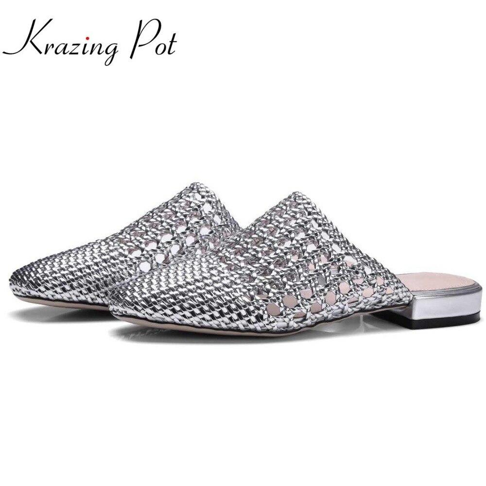 Krazing pentola muli estate di marca slip on di grandi dimensioni a bassa heels gladiatore con laccio dietro al di fuori pantofole di paglia a mano cava muli L11