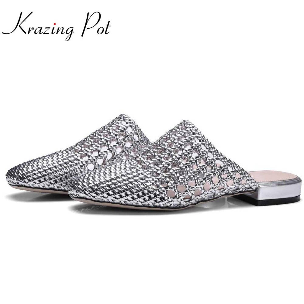 krazing pot mules brand summer slip on large size low heels gladiator slingback outside slippers handmade straw hollow mules L11krazing pot mules brand summer slip on large size low heels gladiator slingback outside slippers handmade straw hollow mules L11