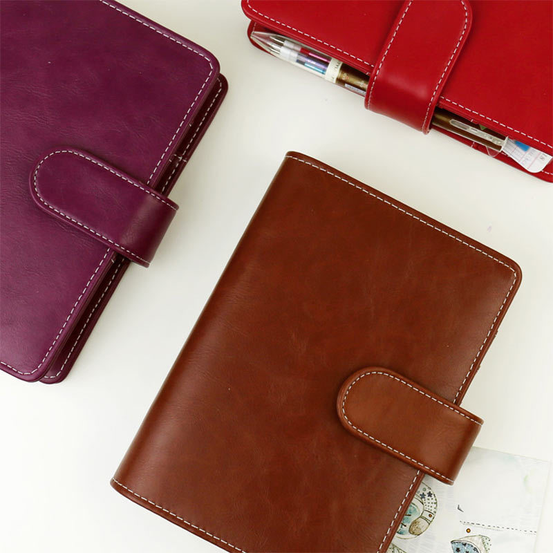 2017 Vintage Leather Notebook A5 A6 Retro PU Notebook Dairy Personal Planner Agenda with 25mm Dia Ring Office & School Supplies