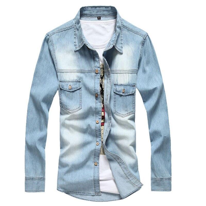 New Men's Denim Shirts Long Sleeve Fashion Wash 100% Cotton Retro Casual Denim Shirt For Men Cowboy Shirt M~3XL AE8001