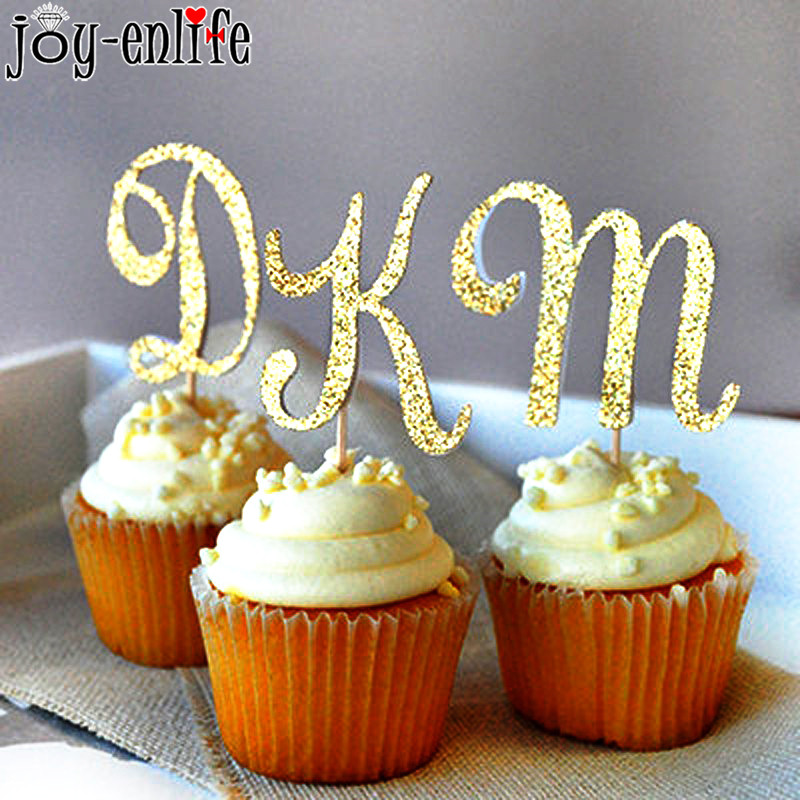 1pcs Gold Glitter Letter A-Z Cupcake Topper Kids Happy Birthday Party Decor Cake Toppers Wedding Baby Shower Party Supplies