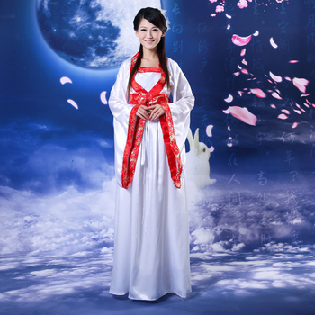 New Red Satin Chinese Ancient Infanta Peri Han Dynasty Dramaturgic Dress Dance Wear Princess Dress Cosplay One Size 081502