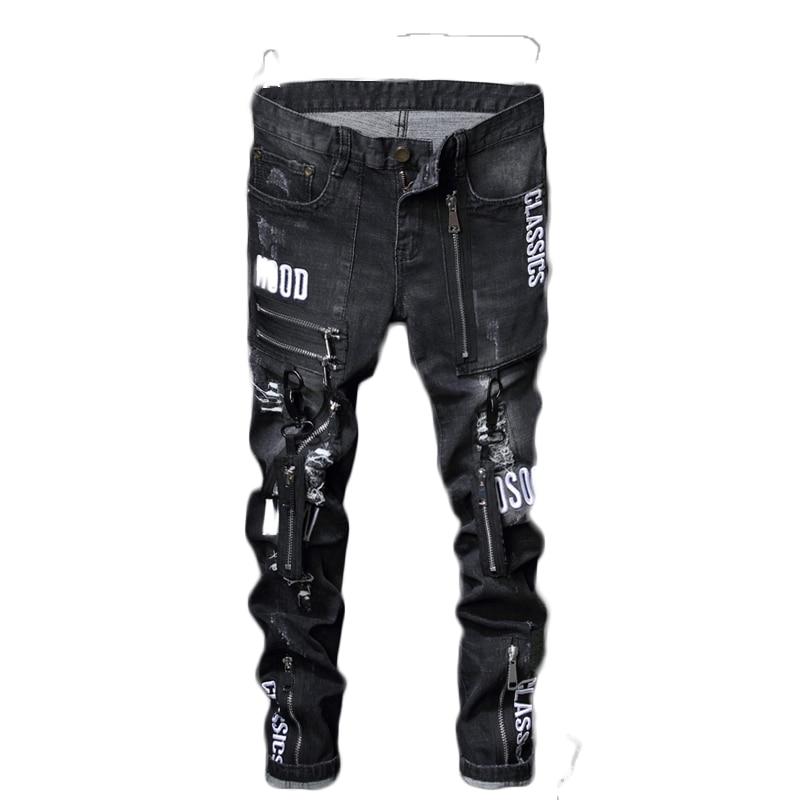 Print Black Jeans Men Ripped Denim Hole Jeans Casual Cotton Stretch Jean Male Designer Slim Fit Straight Jeans Homme