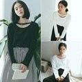 Harajuku Primavera Halter Sólido de Las Mujeres Camiseta Floja Coreana Estudiante Lindo Todo Fósforo Superior Femenina de Manga Larga Delgada Ocasional Camiseta camisas