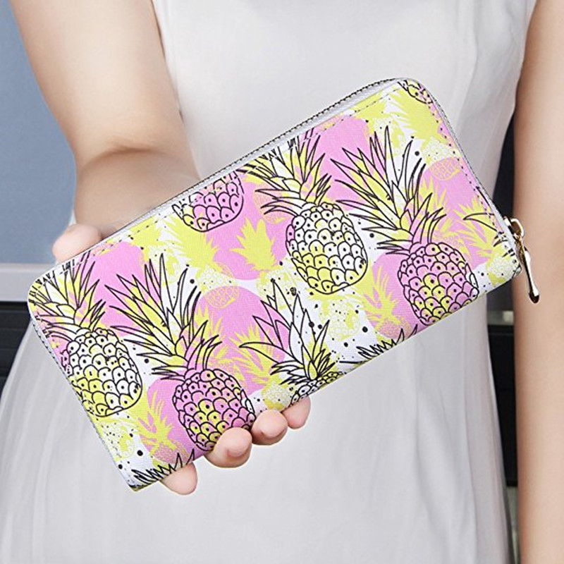 Long Women Pineapple Clutch Wallets PU Leather Large Capacity Card Holders Ladies Zipper Wallets Print Purse Carteira Feminina pineapple print flat sliders