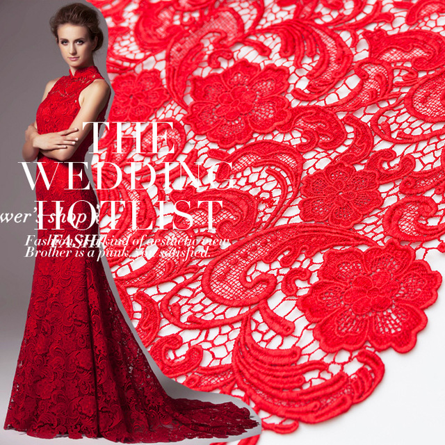 2019 New Arrival High Quality Red French Lace Fabric .african Cord Lace Fabric For Women Wedding Dress Party Free Shippin M1015