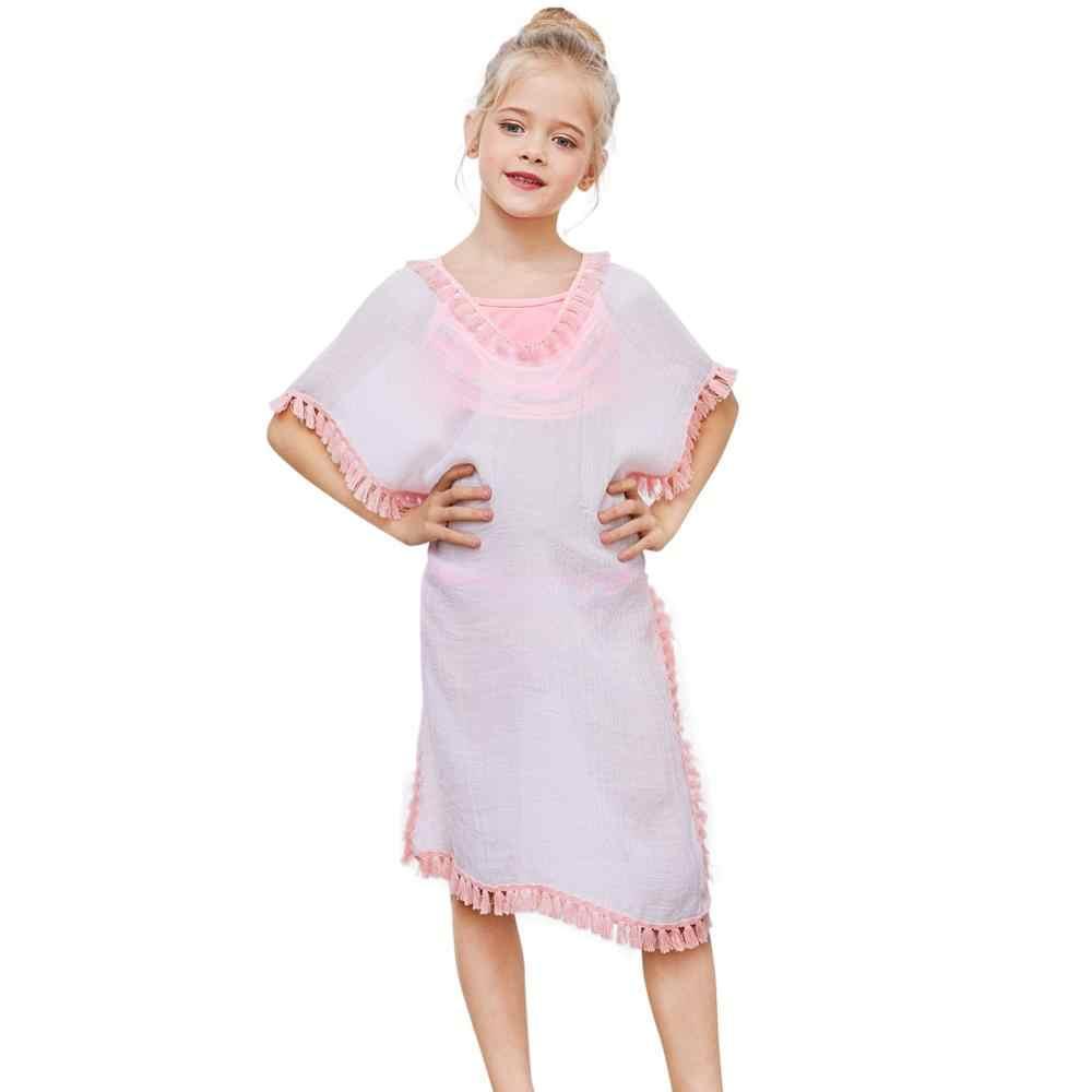 Fioday جديد الصيف الغطاء ملابس السباحة للفتيات لينة يلتف فستان الشاطئ مع Pompom شرابة Chlid الشاطئ المايوه غير رسمية بحر
