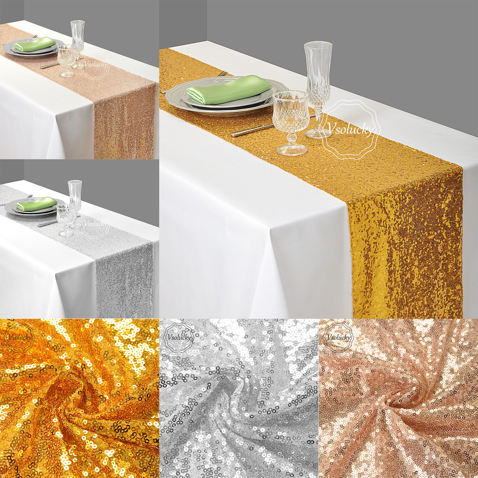 Party Diy Decorations Audacious 30 X 275cm Gold Silver Rose Gold Sequin Fabric Table Runner Sparkly Bling For Wedding Party Diy Decoration Supplies 12x108 Event & Party