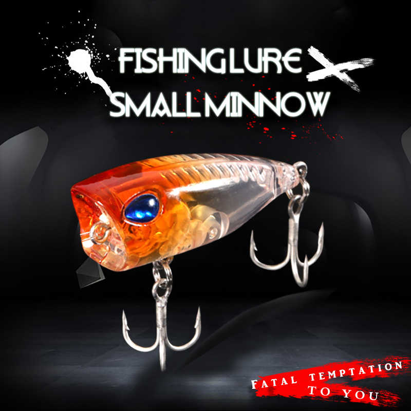 MermaidKnight Fishing Lure Popper 3cm 4g Small 3d Eyes lifelike Bait Mini Wobblers Isca Poperr Japan fishing tackle