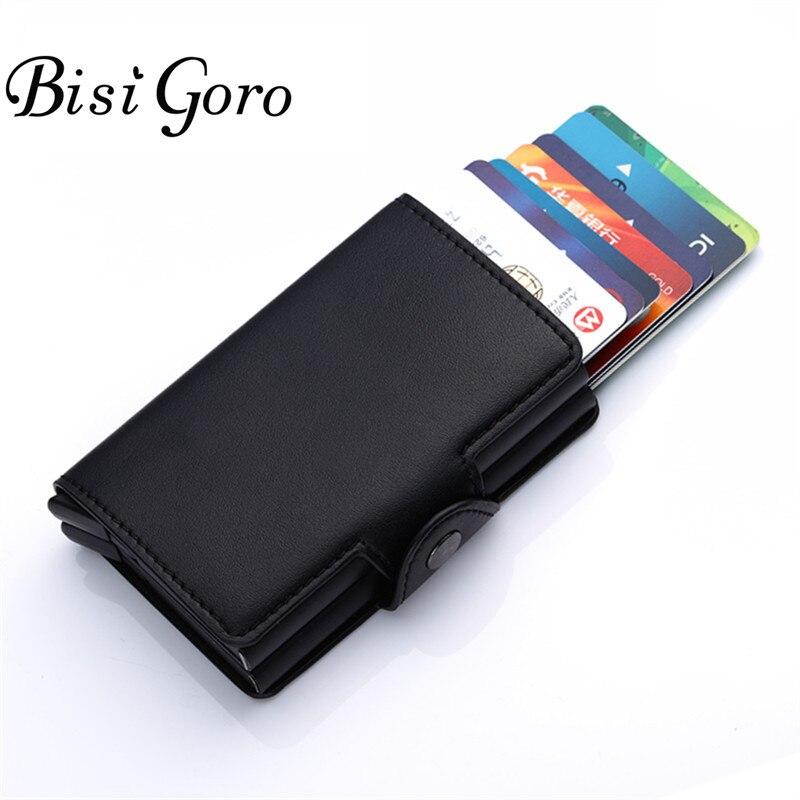 BISI GORO 2018 Metall Kreditkarte Halter Brieftasche Hohe Qualität RFID Automatische ID Karte Fall Business Doppel Aluminium Brieftasche Schnalle