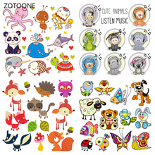 ZOTOONE Unicorn Set Stripes Patches Iron on Transfer Bear Dog for Girl Kids Clothing DIY Heat Stickers G