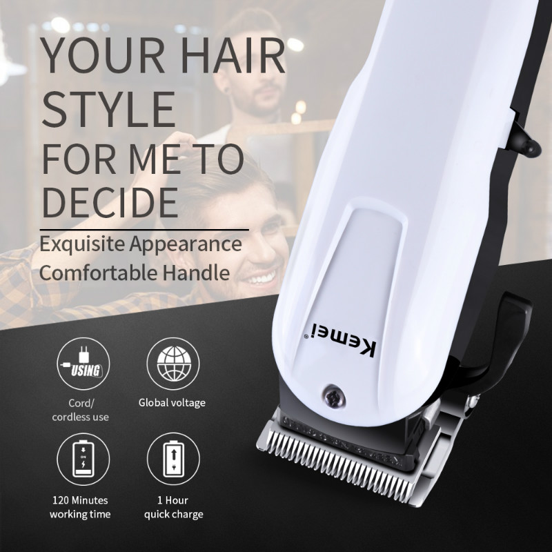 купить Kemei 2601 Professional Electric Rechargeable Hair Clipper Cord/Cordless Hair Trimmer 3/6/10/13mm 100-240V Hair Cutter по цене 1870.61 рублей