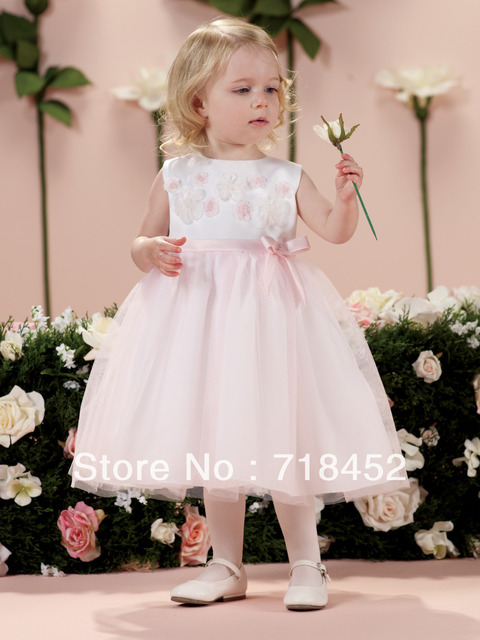 9006c2d146c New Arrival 1 Year Old Flower Girl Dress Knee Length Stain and Organza Pink  Appliques Free