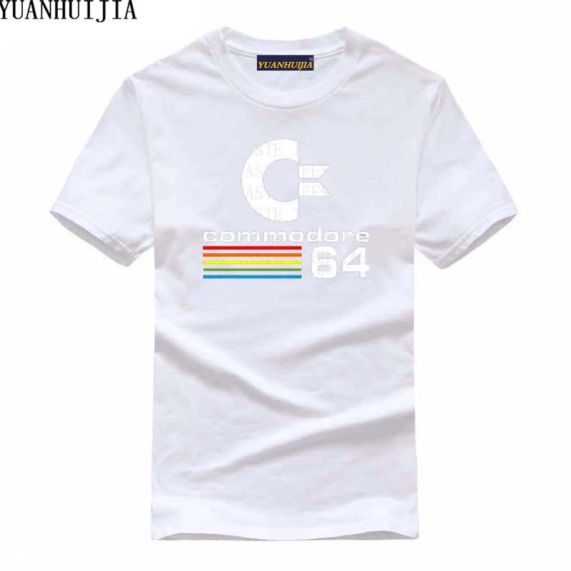 YUANHUIJIA 2019 C64 retro 8-bit cool design vinyl T-shirt short-sleeved males's clothes informal fashion T-Shirts, Low cost T-Shirts, YUANHUIJIA 2019 C64 retro Eight bit cool design vinyl T shirt...