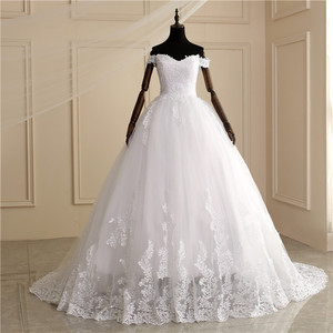 Image 2 - 2020 luksusowe koronki Boat Neck suknia suknie ślubne Sweetheart Sheer powrót księżniczka Illusion aplikacja suknie ślubne Casamento