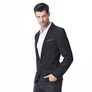 Image 4 - FGKKS New Arrival Fashion Blazer męska casualowa kurtka solidna kolorowa bawełniana męska żakiet z dzianiny dresowej męska klasyczna męska marynarka płaszcze