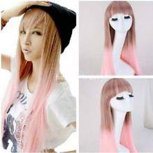 Wig Fashion Women Long Straight Pink Brown Hair Flat Bangs Cosplay Costume Full Wigs(China)