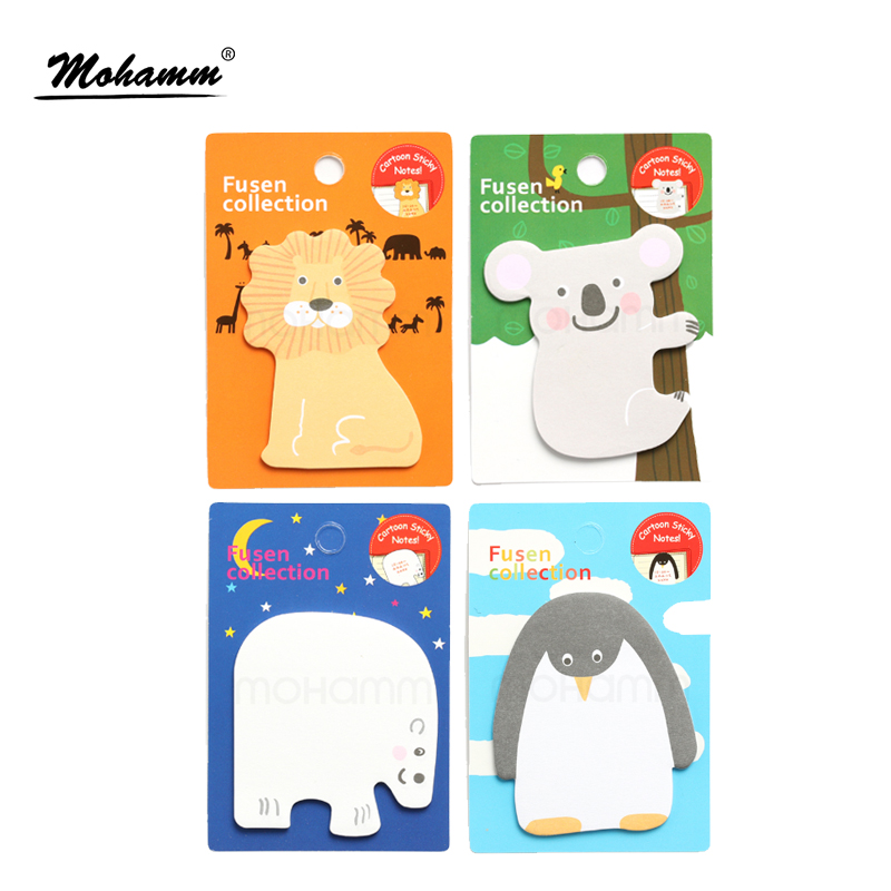 Cute Kawaii Korean Japanese Animal Lion Penguin Sticky Notes  Memo Pad Paper School Office Supplies Stationery