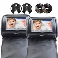 7 ''ЖК дисплей Мониторы подголовник автомобиля + ИК fm передатчик 2 DVD плеер двойной Экран USB SD MMC с пара из Беспроводной ИК наушники (черный)