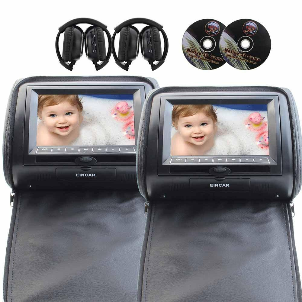 "7"" LCD Monitor Car Headrest+IR FM Transmitter 2 DVD Player Dual Screen USB SD MMC with Pair of Wireless IR headphones(Black)"