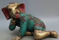 JP S0524 11 Tibet turquoise Red Coral Bronze Gild Ganapati Lord Ganesha Elephant Statue B0403