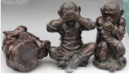 SCY 1114 +++ Chinês Antigo Bronze Sem Falar Ouvir Ver Três Macacos Macaco Animal Estátua Set