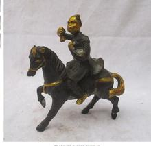 Copper Brass Chinese Old Copper Carved Gold gilt Monkey King Horse Riding Sculpture /Antique Monkey statue